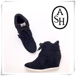 ASH Bowie Hidden Wedge Sneaker Black Suede